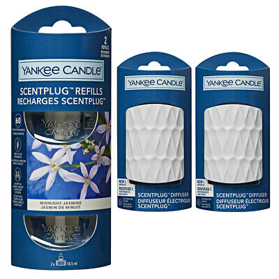 YANKEE CANDLE Scent Plug In Air Freshener 2 X WHITE Plugs And 2 Refills (1 TWIN) • 19.99£