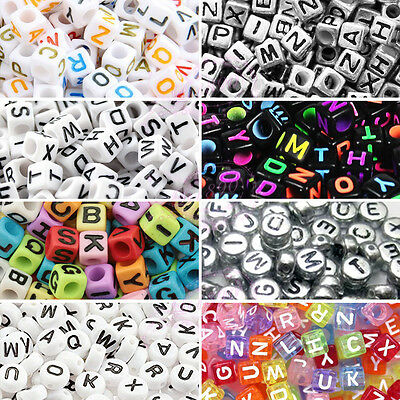 400 To 600 Alphabet Mixed Letters Cube Beads 6mm Flat Round 7mm Jewellery Making • 2.69£