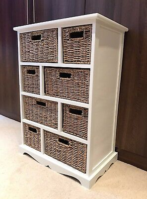 Brown Wicker Rattan Chest Of Drawers Furniture White Bathroom Storage Unit • 129.99£