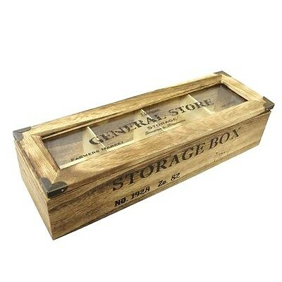 Shabby Chic Wood General Store 4 Compartment Tea Bag Box Candy Storage Chest • 10.99£