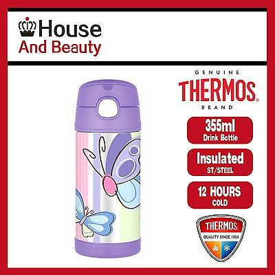 AU25.99 • Buy THERMOS Funtainer S/Steel Vacuum Insulated Drink Bottle 355ml Purple Butterfly