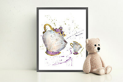 Mrs Potts And Chip Beauty And The Beast Disney Art Print Watercolor Wall Art • 8.99£