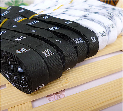 1 Roll (500PCS)White Black Woven Clothing Garment Size Labels Tabs XS-5XL  • 1.85£