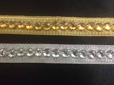 15mm Silver / Gold Beaded Ribbon Lace Trim Edging Craft Trimming 1 Yard • 1.10£