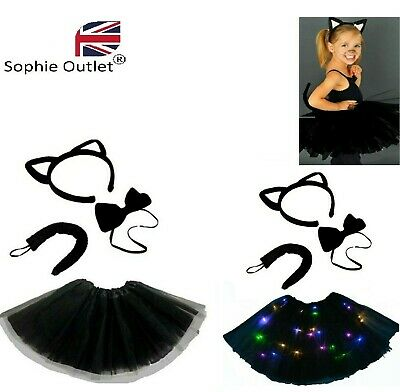 Kids WITCHES BLACK CAT Fancy Dress Halloween Costume TUTU Ears Accessory Set UK • 7.25£