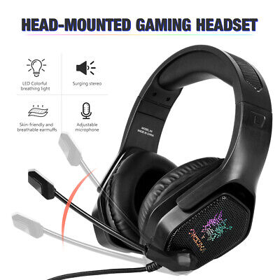 AU29.95 • Buy 3.5mm Gaming Headset MIC LED Headphones For PC Laptop PS4 PS5 Slim Pro Xbox One