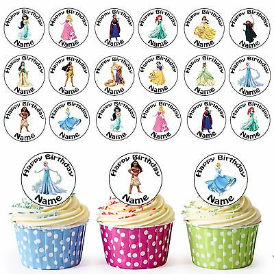 £3.79 • Buy The Disney Girls / Princess 24 Personalised Pre-cut Edible Cupcake Toppers Party
