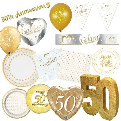 £3.49 • Buy 50th Golden Wedding Anniversary Party Supplies Tableware, Decorations & Balloons
