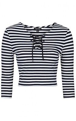 Ex Topshop Women's Navy Tie Front Striped Cropped Top Stretchy Cotton RRP £18 • 9.99£