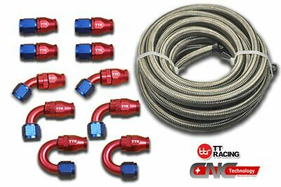 AU124.91 • Buy 8-AN AN8 Braided Steel PTFE Fuel Hose 20FT 6M Swivel Teflon PTFE 10 Fittings Kit