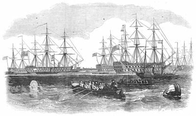 HAMPSHIRE. The Grand Naval Review At Spithead. The Fleet From The South, 1856 • 15.99£