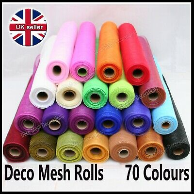 Deco Mesh Rolls 50cm X 9yd Roll - 65 Colours Available - UK Seller - Polynet • 6.50£