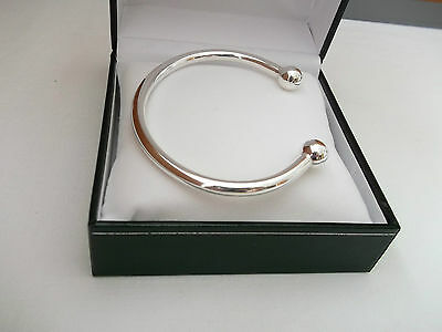 NEW MENS HEAVY SOLID SILVER 34g 5mm THICK TORQUE BANGLE BRACELET • 89.95£