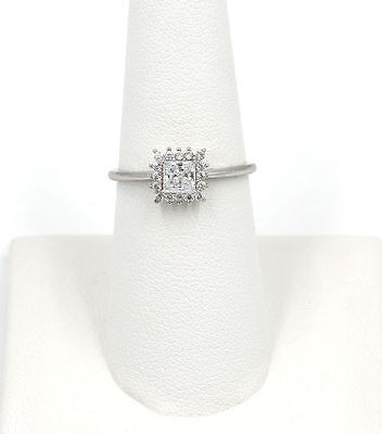 $12.99 • Buy .925 Sterling Silver CZ Princess Cut Womans Halo Solitaire Ring Cubic Zirconia