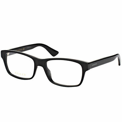 db186a38ab9 New Authentic Gucci GG0006O 005 Black Plastic Rectangle Eyeglasses 55mm •  112.53