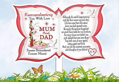 Mum And Dad Butterfly Shaped Memorial  Graveside Card & Free Holder • 3.25£