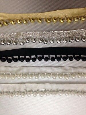 1Yard Vintage Style Pearl Beaded Lace Edging Trim Ribbon Wedding Applique 20mm • 0.99£