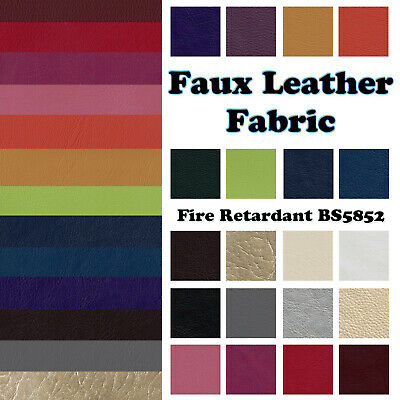 £0.99 • Buy Faux Leather Leatherette Fabric Fire Retardant Upholstery Vinyl By The Metre UK