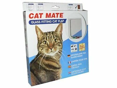 £142.99 • Buy Cat Mate 4 Way Locking  Glass Fitting Cat Flap And Door Liner White 6 Pack