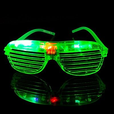 Green Flashing LED Shutter Glasses Light Up Rave Slotted Party Glow Shades UK • 5.49£