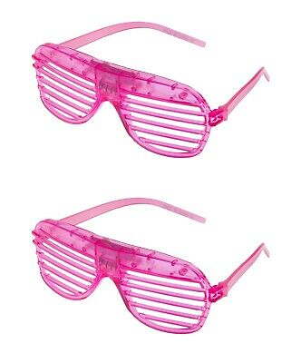 2 Pink Flashing LED Shutter Glasses Light Up Rave Slotted Party Glow Shades UK • 6.99£