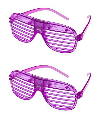 2 Purple Flashing LED Shutter Glasses Light Up Rave Slotted Party Glow Shades UK • 6.99£