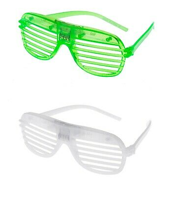 1 Green 1 White Flashing LED Shutter Glasses Light Up Slotted Party Glow Shades • 6.99£