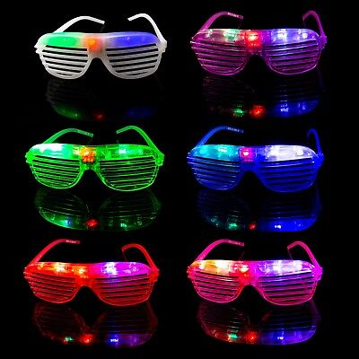 2 Flashing LED Shutter Glasses Light Up Rave Slotted Party Glow Shades Fun UK • 6.99£