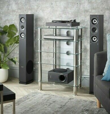 MMT Hi Fi Stand Rack 5 Shelf AV Cabinet Clear Glass Chrome Legs Extra Deep 500mm • 109.99£
