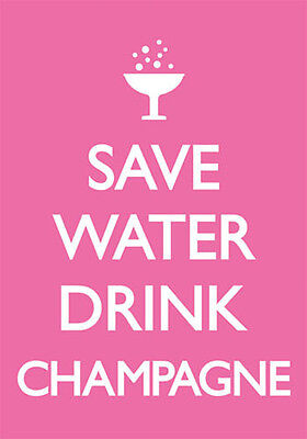 £1.25 • Buy SAVE WATER DRINK CHAMPAGNE - Funny / Comedy Pink Girly Postcard