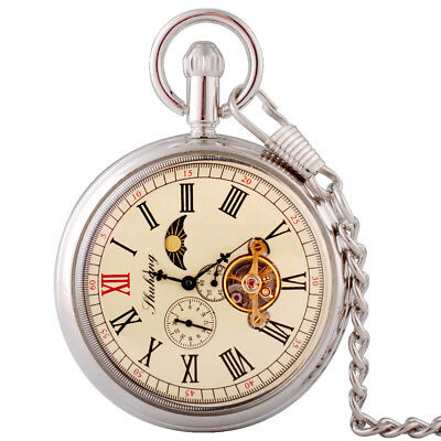 £21.73 • Buy Antique Silver Moon Phase Tourbillon Mechanical Pocket Watch Chain Windup Gift