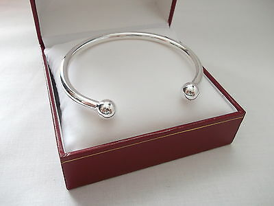 NEW MENS HEAVY SOLID SILVER HALLMARKED 34g 5mm THICK TORQUE BANGLE BRACELET   • 89.95£