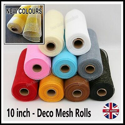 Deco Mesh Rolls 10 Inch X 9m Roll  106 Colours - New Colours! Incl. Metallic UK • 8£