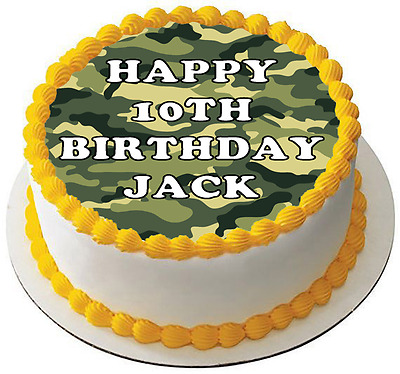 £4.47 • Buy CAMOUFLAGE ARMY 7.5 PREMIUM Edible ICING Cake Topper CAN BE PERSONALISED D1