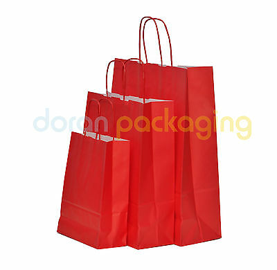£0.99 • Buy Red Paper Bags Twist Handle Party And Gift Carrier / Paper Bags With Handles