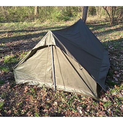 $55 • Buy New French Army Issue Military Surplus Camping 2 Man F1 Pup Green Tent Shelter