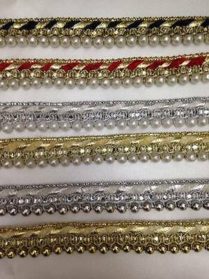 Vintage Style Pearl Beaded Lace Edging Trim Ribbon Wedding Applique 1Yard X 20mm • 1.30£