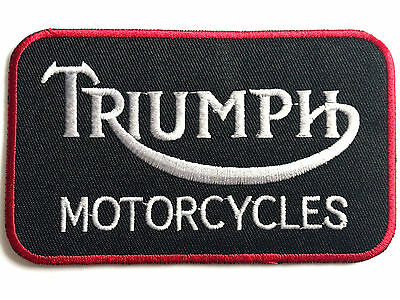VINTAGE TRIUMPH MOTORCYCLES PATCH Embroidered Cotton Iron On Big Motorbike Badge • 3.39£