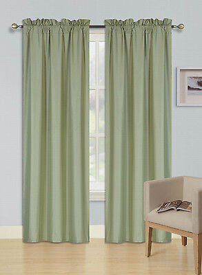 $18 • Buy 2pc Rod Pocket Foam Lined Thermal Blackout Window Curtain Drape Panel R64 Sage