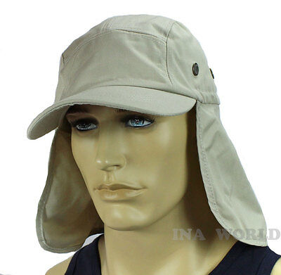 $6.85 • Buy Sun Cap Hat Ear Flap Neck Cover Sun Protection Baseball Cap Style- White Beige