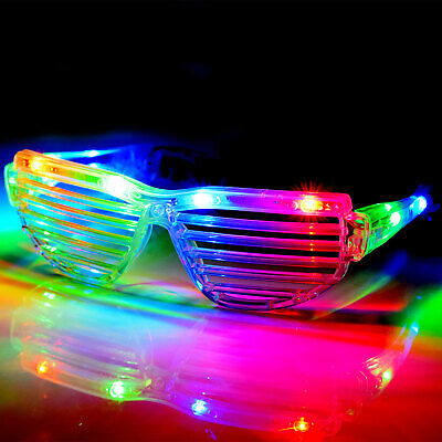 LED Shutter Shades Flashing Glasses Rave Club Party Fancy Dress Light Up • 5.99£