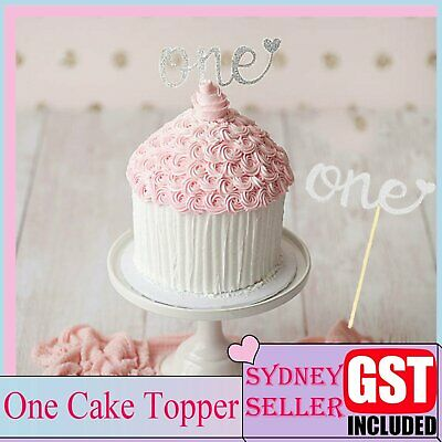 AU3.99 • Buy One Silver Glitter Cake Topper Heart 1st First Birthday Party Number Decoration