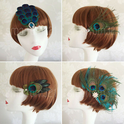 Peacock Feather Fascinator Hair Clip Wedding 20's Gatsby Party Vintage Headpiece • 9.99£