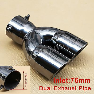 $ CDN61.14 • Buy 76mm 3  Inlet Universal Rear Muffler Tail Exhaust Tip Pipe Dual Outlet Accessory