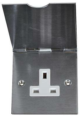 Single Floor Socket With Cover - Stainless Steel • 10.50£