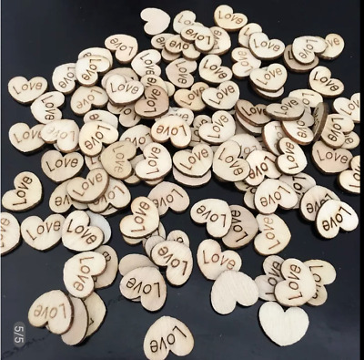 Love Heart Table Decoration Wooden Rustic Wedding Vintage Favours Personalised • 2.99£