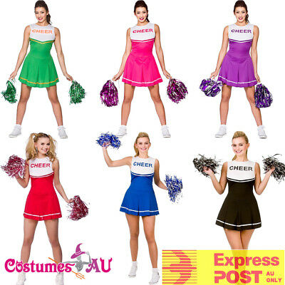 AU18.99 • Buy Ladies Cheerleader Costume School Girl Outfits Fancy Dress Cheer Leader Uniform