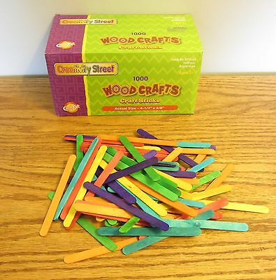 250 CHENILLE COLORED WOOD POPSICLE CRAFT STICKS  4-1/2  X 3/8  PARROT BIRD TOYS • 9.75$