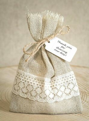 Wedding Favour Bags Hessian & Lace Hand Made Shabby Chic Vintage Personalised • 35£