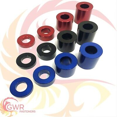 £5.95 • Buy RED BLACK BLUE M8 Anodised Aluminium Spacer - Bonnet Standoff Collar - Stand Off